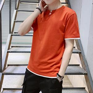 夏季男士短袖t恤圆领假两件2019新款宽松体恤韩版潮流男装上衣服
