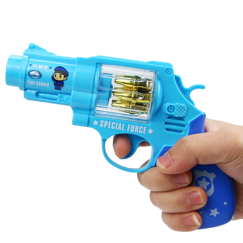 20190701221555383宝宝声光玩具枪男孩音乐枪1-2-3-4岁小孩警察小儿童玩具 神枪手(蓝色) 送2节5号电池 官方标配