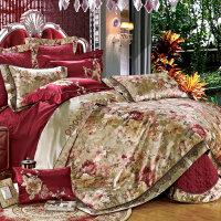 伊迪梦家纺 豪华仿真丝贡缎提花绗缝夹棉绣花床上用品多件套 六件套八件套十件套大规格床GZ201