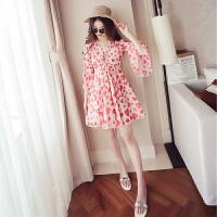 马尔代夫沙滩裙女夏2018新款显瘦超仙短款海边度假韩版雪纺连衣裙 红色
