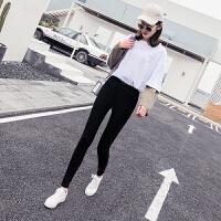 加绒加厚打底裤女外穿2018新款韩版百搭薄款小脚裤保暖黑色铅笔裤
