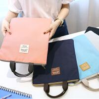 手提A4文件包拉链收纳资料袋IPAD文件袋学生补习袋logo定做帆布女
