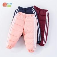 贝贝怡儿童羽绒裤冬装新款男女宝宝撞色条纹加厚保暖外穿长裤194K478