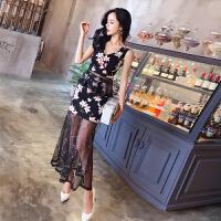 夏装性感V领花朵上衣+高腰刺绣花网纱半身裙长裙洋气套装