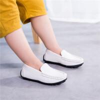 休闲童鞋小男孩儿童豆豆鞋单鞋中男童白皮鞋小学生鞋
