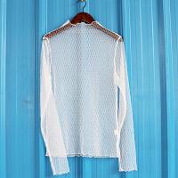 秋冬新款透明网纱打底衫性感蕾丝内搭上衣网格长袖T恤女透明薄纱