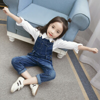 春装新款韩版儿童牛仔背带裤潮中大童女童牛仔连体吊带长裤