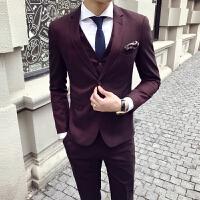 新品18春装款男士潮流纯色细条纹结婚西服套装韩版英伦修身青年三