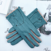 手套女士秋冬可爱韩版卡通保暖加绒加厚麂皮绒薄款开车手套女学生