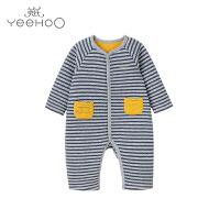英氏男宝宝连体衣婴儿哈衣冬装新生儿连体服长袖163149