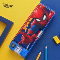 迪士尼文具盒男小学生多功能铅笔盒女1-3年级儿童可爱卡通创意大容量塑料笔袋蜘蛛侠学习文具带笔削笔盒