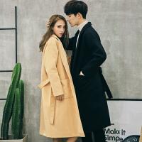 新款18秋冬男士潮流韩版宽松型腰带款毛衣大衣青年男女中长情侣外