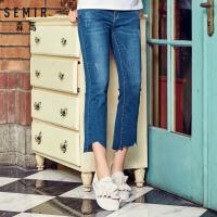 森马牛仔裤女学生夏季新款喇叭裤不规则裤子韩版潮女装裤子学生
