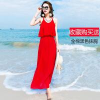 维绯 新款大红色雪纺连衣裙 海边露背沙滩裙 波西米亚度假长裙子 红色