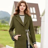 冬装新品西装领腰带长大衣宽松羊毛呢外套女D743315