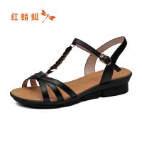 红蜻蜓2018夏季清仓款凉鞋拖鞋高跟鞋特价正品