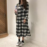 2018春装新款韩版女学生磨毛开叉中长款宽松格子长袖衬衫连衣裙子