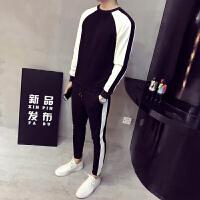新品18春装新款男士韩版修身黑白撞色卫衣两件套装潮流青年圆领运