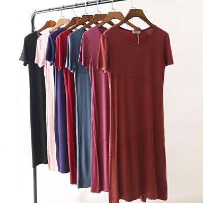 宽松女士夏季连衣裙女2018新款韩版显瘦中长款短袖女人夏天的裙子