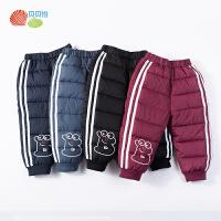 贝贝怡童装男童保暖棉裤冬季儿童夹棉加厚运动休闲裤洋气裤子