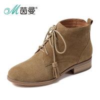 茵曼女鞋2017秋冬新款方跟系带休闲靴子流苏绒面短靴4864072070
