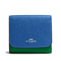 【当当自营】蔻驰(COACH)新款时尚女士拼色十字纹皮革折叠卡包钱包 F57825