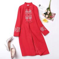宫廷风毛呢连衣裙长袖唐装新娘礼服中国风秋冬红色刺绣旗袍女改良 红色