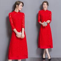 2017新款秋装女礼服蕾丝旗袍连衣裙秋气质修身显瘦名媛大红色裙子
