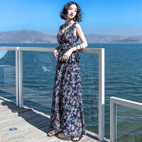 夏季新品女装系带无袖雪纺连衣裙长裙波西米亚海边度假沙滩裙 XZ548
