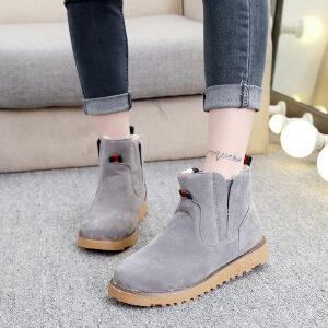 雪地靴女马丁靴女短靴女棉鞋女2018冬季新款韩版学生百搭平底加绒保暖棉鞋301NX