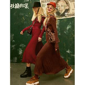 【尾品汇大促】妖精的口袋Y秋冬季2018新款法式复古桔梗高腰气质针织连衣裙女士