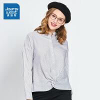 [限时抢:72元,真维斯大牌日仅限10.15-17]真维斯女装 2019秋装 全棉色织条子长袖衬衫