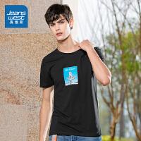 [到手价:39.6元]真维斯男装 2020春装新品 时尚易穿全棉圆领修身短袖印花T恤