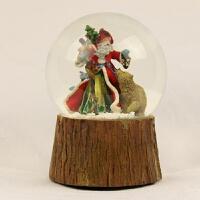 圣诞水晶球圣诞老人小熊摆件雪花飘雪旋转音乐盒厂家出385 13.5*13.5*16.5