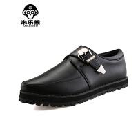 米乐猴 潮牌男鞋夏季男士休闲皮鞋男英伦时尚潮男松糕小皮鞋黑色青年男鞋单鞋男鞋