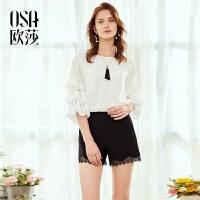 OSA欧莎2018夏季新款ulazzang蕾丝高腰宽松休闲裤黑色短裤女