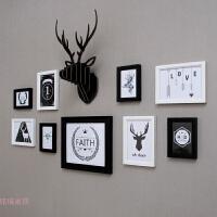 北欧简约实木照片墙 卧室相片挂墙装饰现代餐厅玄关创意相框组合