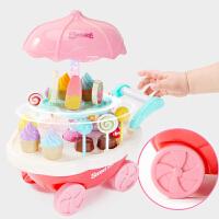 儿童过家家玩具女孩3-6岁小公主生日礼物5迷你4音乐冰淇淋手推车