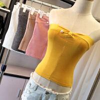 夏装新款性感珍珠扣胸针抹胸打底纯色冰丝针织裹胸上衣E25