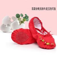 儿童舞蹈鞋女童芭蕾舞鞋两底宝宝花边蝴蝶结红色练功跳舞鞋花朵