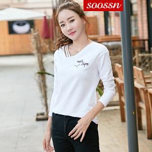 SOOSSN 2018秋季韩版 长袖纯棉t恤女字母印花打底衫女士T恤上衣 6053