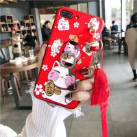 新款招财猫iPhone8X手机壳苹果6splus硅胶软套7P挂绳吊坠浮雕女款