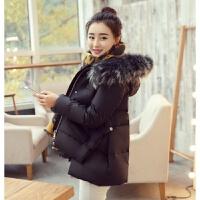 2018春冬装韩版修身女短款大毛领连帽加厚外套A字羽绒服