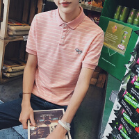 港风夏季新款韩版修身男士POLO衫青少年小清新条纹短袖翻领T恤男