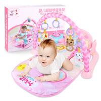 20180530040140948新生婴幼儿童 音乐健身架脚踏钢琴玩具女孩宝宝0-6-12个月1岁 [保暖毯+充电遥控