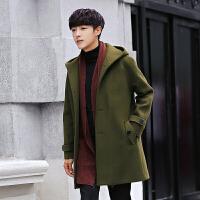 冬季男士双面呢子外套加厚毛呢大衣男中长款韩版潮流妮子连帽风衣