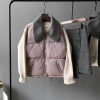 羽绒棉马甲女士外套短款羊羔毛领韩版冬季新款学生百搭面包服坎肩潮