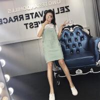 2018春季新款韩版宽松纯色糖果色牛仔背带连衣裙百搭短裙女