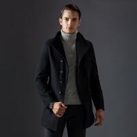 羊毛呢大衣男中长款韩版修身秋冬季商务休闲呢子风衣男士外套加厚
