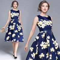 欧洲站女装夏季新款显瘦中长款优雅提花无袖收腰大摆连衣裙
